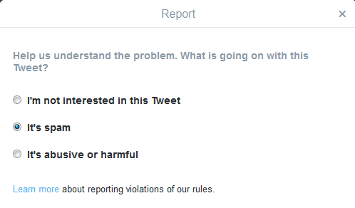 Twitter Spam Report