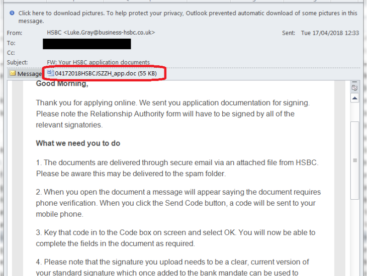 HSBC Application Email Scam | Consumer Lookout